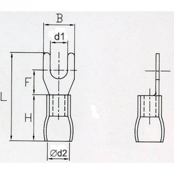 KWR6 Końcówka widełkowa izol. M6 100szt