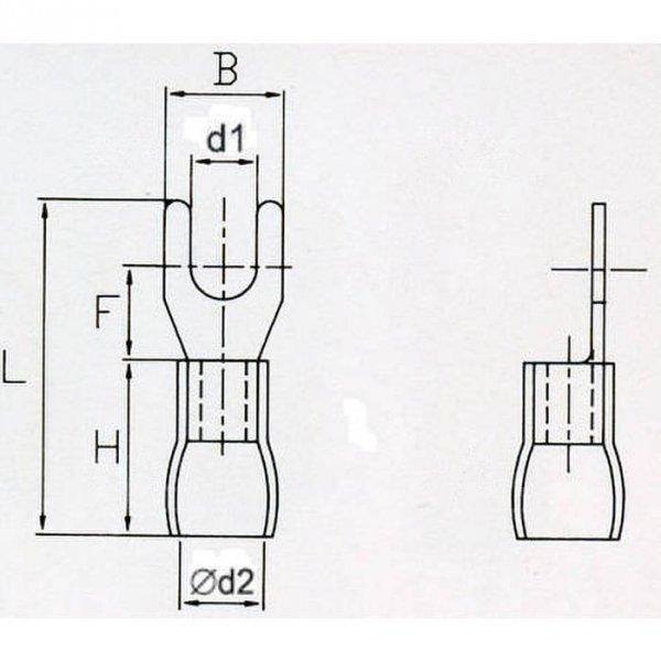 KWB6 Końcówka widełkowa izol. M6 100szt