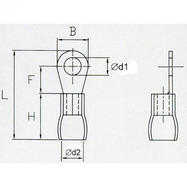 OKB6 Końcówka oczkowa izol. M6 100szt