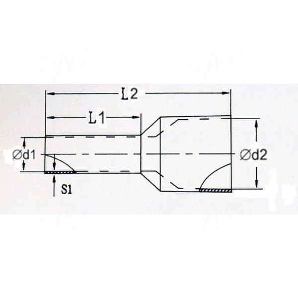 KR060018 Y Tulejka izolow. 6mm2 x 18mm  100szt
