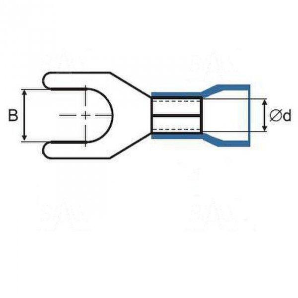 ZKW12-6.5BK Końcówka widełkowa złocona M6,
