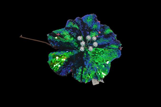 Gałązka kwiatowa magnolia turkusowa cekiny opalizujaca - BXT1080