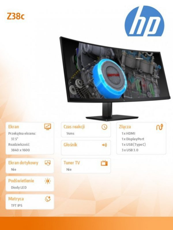 HP Inc. Monitor 37.5  Z38c 3Curved Display  Z4W65A4