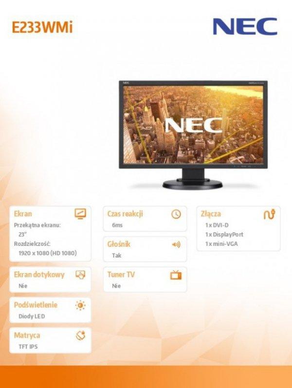 NEC Monitor 23 E233WMi czarny W-LED DVI 1920x1080