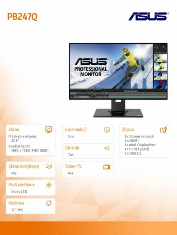 Asus Monitor 24'' PB247Q FHD IPS 23,8'' SLIM sRGB HDMI DP USB3.0 A-B GŁOŚNIK PIVOT