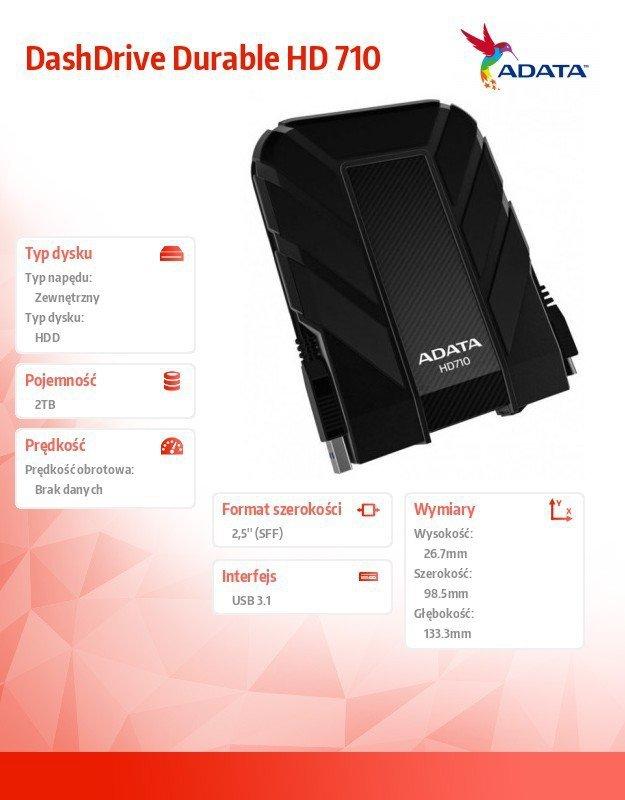 Adata DashDrive Durable HD710 2TB 2.5'' USB3.1 Czarny