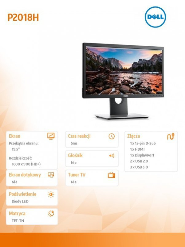Dell Monitor 19,5 P2018H TN LED  (1600x900) /16:9/VGA/HDMI/DP/5xUSB/3Y PPG