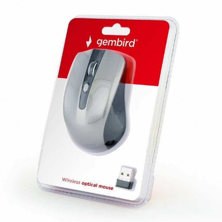 Gembird Bezprzewodowa mysz optyczna czarno-szara