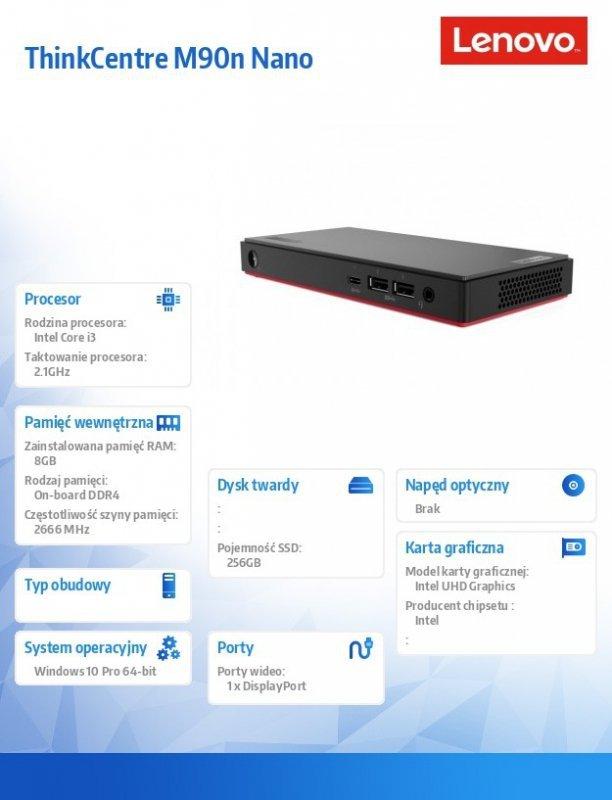 Lenovo Komputer ThinkCentre M90n Nano 11AD000UPB W10Pro i3-8145U/8GB/256GB/3YRS OS