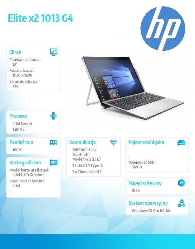 HP Inc. Notebook Elite x2 1013 G4 W10P i5-8265U/512/16G 7KP06EA