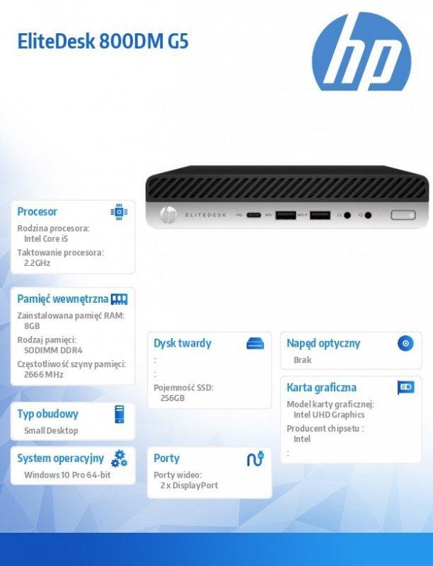 HP Inc. Komputer EliteDesk 800DM G5 i5-9500T 256/8GB/W10P/24 8NC64EA + Monitor Mini-in-One 24 Display 7AX23AA