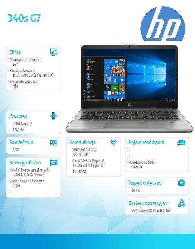 HP Inc. Notebook 340s G7 i7-1065G1 512/8G/W10P/14   8VU99EA