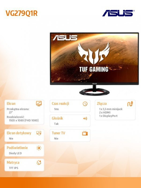 Asus Monitor 27 cali VG279Q1R
