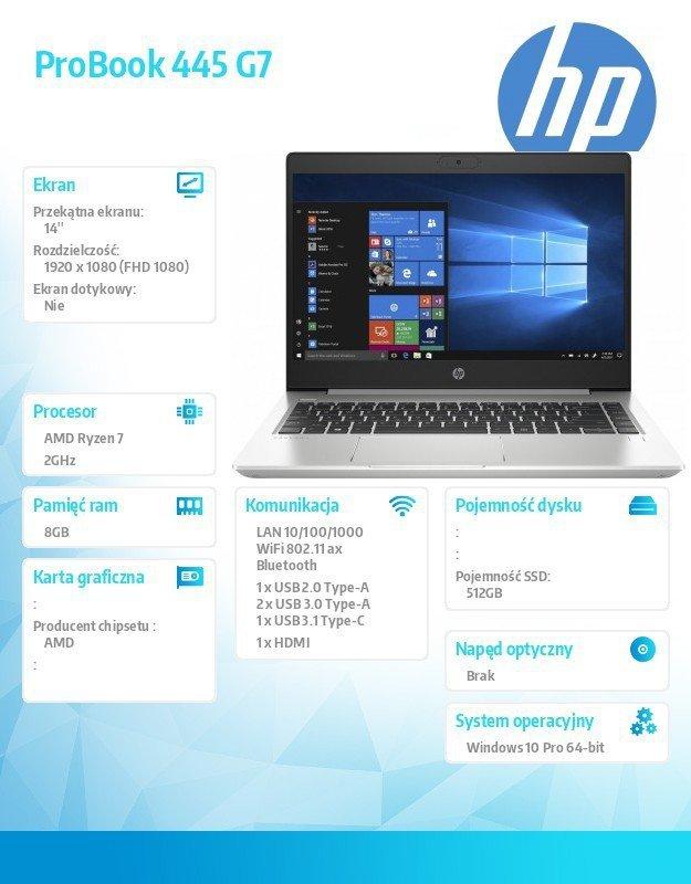 HP Inc. Notebook Probook 445 G7 R7-4700U 512/8G/14 cali/W10P  175V6EA