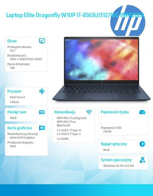 HP Inc. Laptop Elite Dragonfly W10P i7-8565U/512/16G 9WA26EA