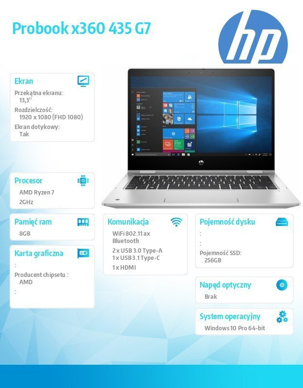 HP Inc. Notebook Probook 435 G7 x360 R7-4700U 256/8G/13,3/W10P 175W9EA