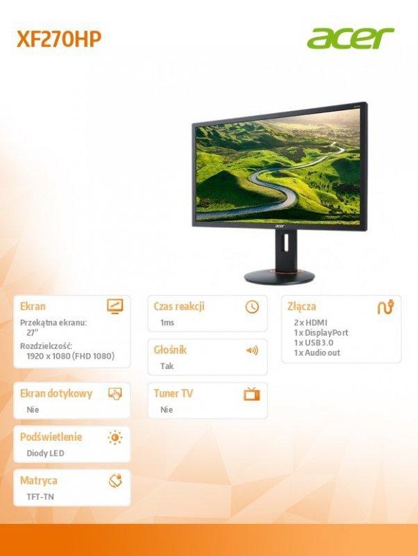 Acer Monitor 27 cali XF270HPbmiiprz x ZeroFrame 165Hz 1ms
