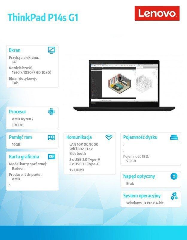 Lenovo Mobilna stacja robocza ThinkPad P14s G1 20Y10004PB W10Pro 4750U/16GB/512GB/INT/14.0 FHD/Touch/Black/3YRS Premier Support