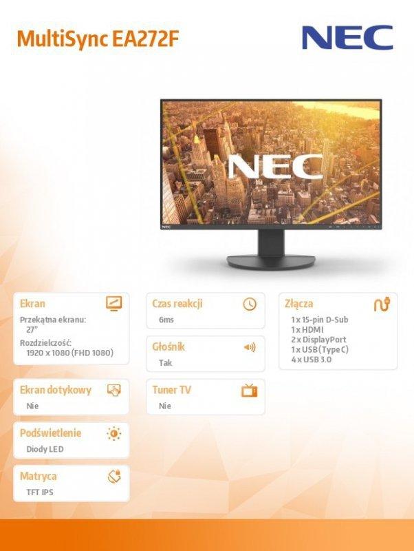 NEC Monitor MultiSync EA272F 27 cali czarny USB-C