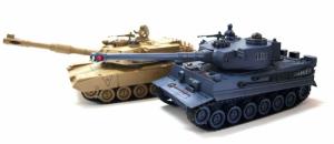 Zestaw wzajemnie walczących czołgów PK German Tiger i Abrams M1A2 1:28 - POSERWISOWY (1 sprawny)