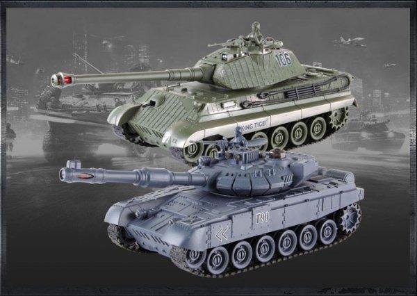 Zestaw wzajemnie walczących czołgów Russian T90 i German King Tiger 27MHz/35Mhz 1:28 RTR