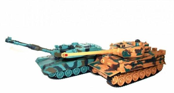 Zestaw wzajemnie walczących czołgów M1A2 Abrams i German Tiger v2 2.4GHz 1:28 RTR - POSERWISOWY (brak nadajników))