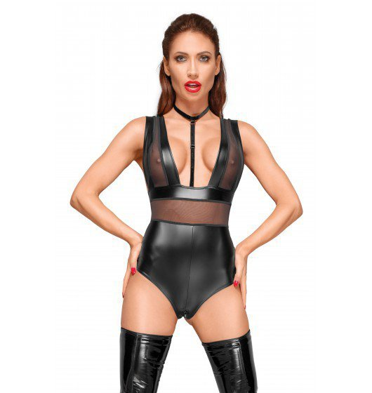 Sexi Body  Powerwetlook body with wide straps, tulle inserts and velvet choker M