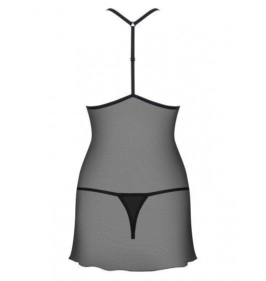 Kusząca koszulka i stringi Obsessive  czarna L/XL