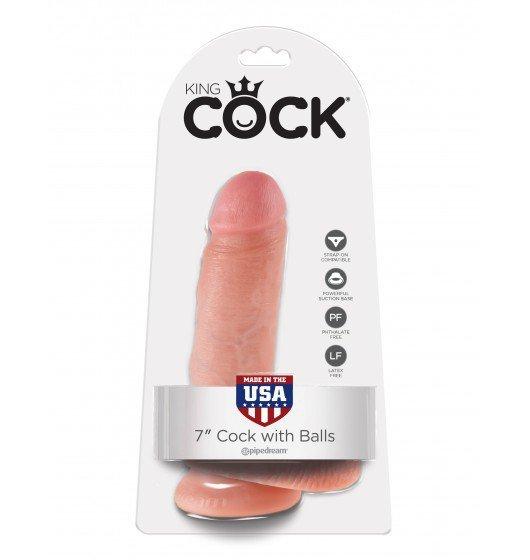 "King Cock 7"" Cock with Balls Flesh"