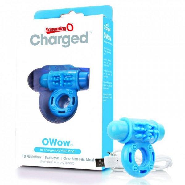 Pierścień erekcyjny - The Screaming O Charged OWow Vibe Ring Blue