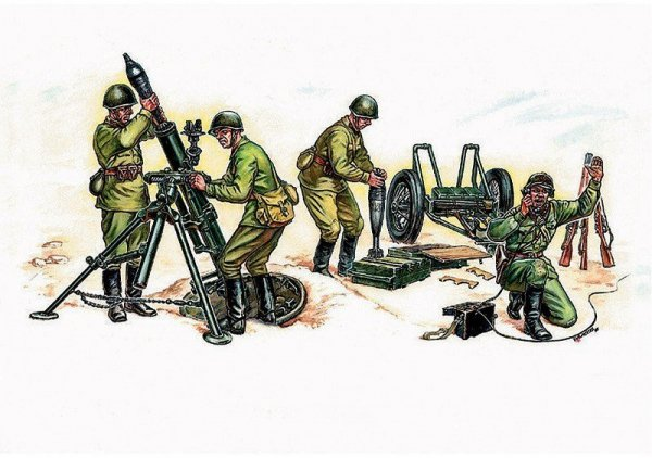 Soviet Mortar with Crew WWII