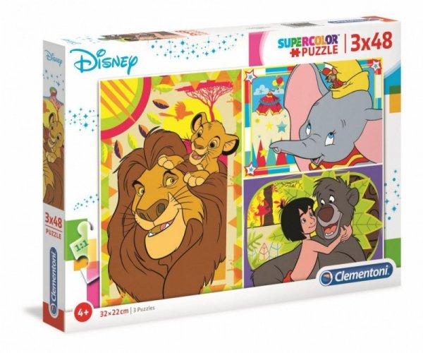 Puzzle 3x48 elementów Super Kolor Disney Classic
