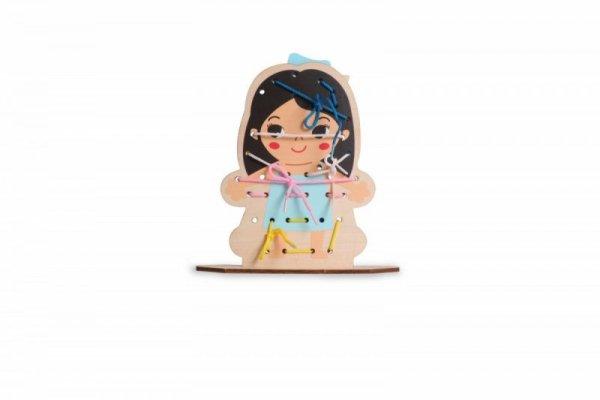 Przewlekanka nawlekanka koraliki drewniana Dziewczynka chłopiec ciemne włosy