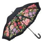 Ogród różany - parasol dwuwarstwowy ze skórzaną rączką