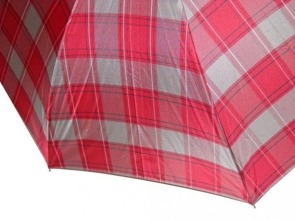 Czerwono-szara krata  - parasol długi damski Zest 51652