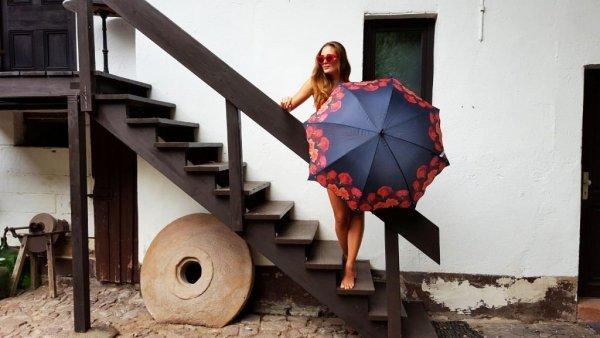 Róże - parasol długi ze skórzaną rączką