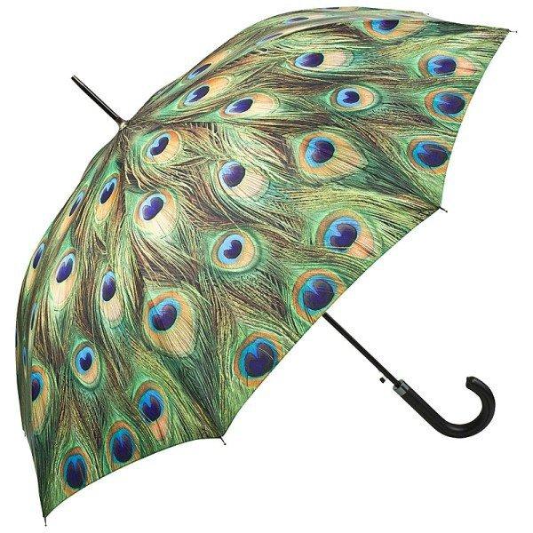 Pawie oczko Parasol długi ze skórzaną rączką