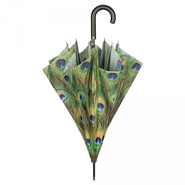 Pawie oczko - długi parasol ze skórzaną rączką