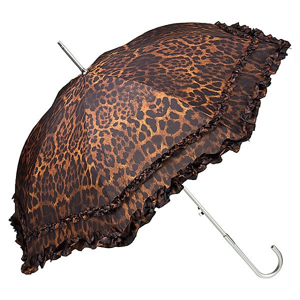 Leopard - długa parasolka damska z falbanką