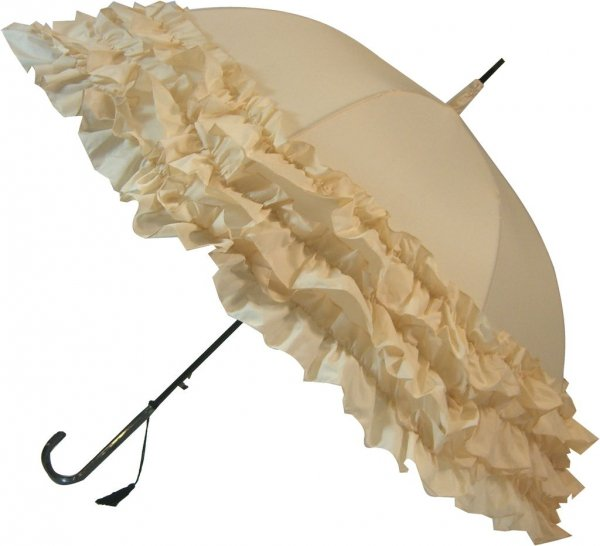 Trzy falbany beżowy parasol Boutique Frill