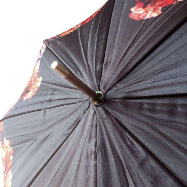 Czerwone kwiaty - luksusowy parasol satynowy Zest 51644