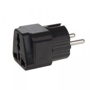 MCE155 46974 Adapter gniazdo UK na wtyk EU uniwersalny czarny