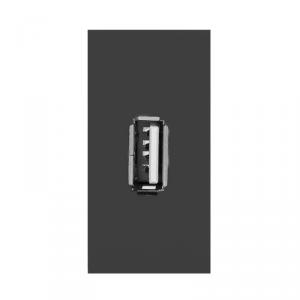 NOEN USB data, gniazdo modułowe 22,5x45mm USB data 2.0, piny, czarne