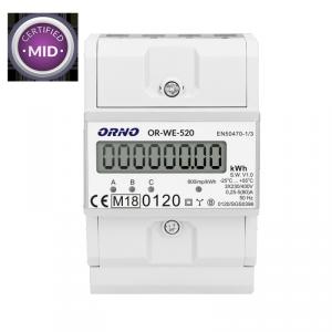 3-fazowy licznik energii elektrycznej, 80A, MID, 3 moduły, DIN TH-35mm