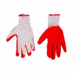 Rękawice robocze, dzianina bawełniana powlekana gumą, czerwone, 9