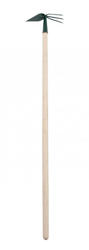 12296 Motyczka sercowa z widełkami z trzonkiem drewnianym 110cm