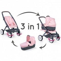 SMOBY Wózek dla Lalek Maxi Cosi Quinny 3w1 Wózek głęboki Gondola Spacerówka
