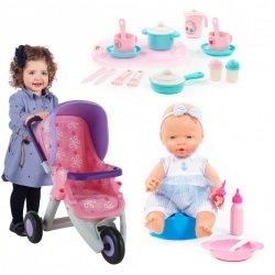 Bobas lalka z akcesoriami + wózek dla lalek + Zestaw naczyń z tacą Wader QT Polesie