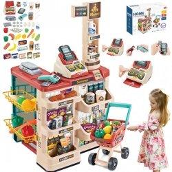 WOOPIE Sklep Supermarket z Wózkiem Sklepowym Waga Kasa Skaner + 48 Akc.