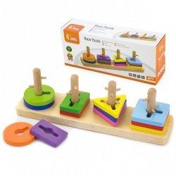 Drewniane klocki Viga Toys z sorterem kształtów
